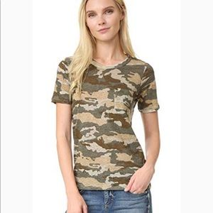 Chaser 100% linen camo pocket short sleeve t-shirt